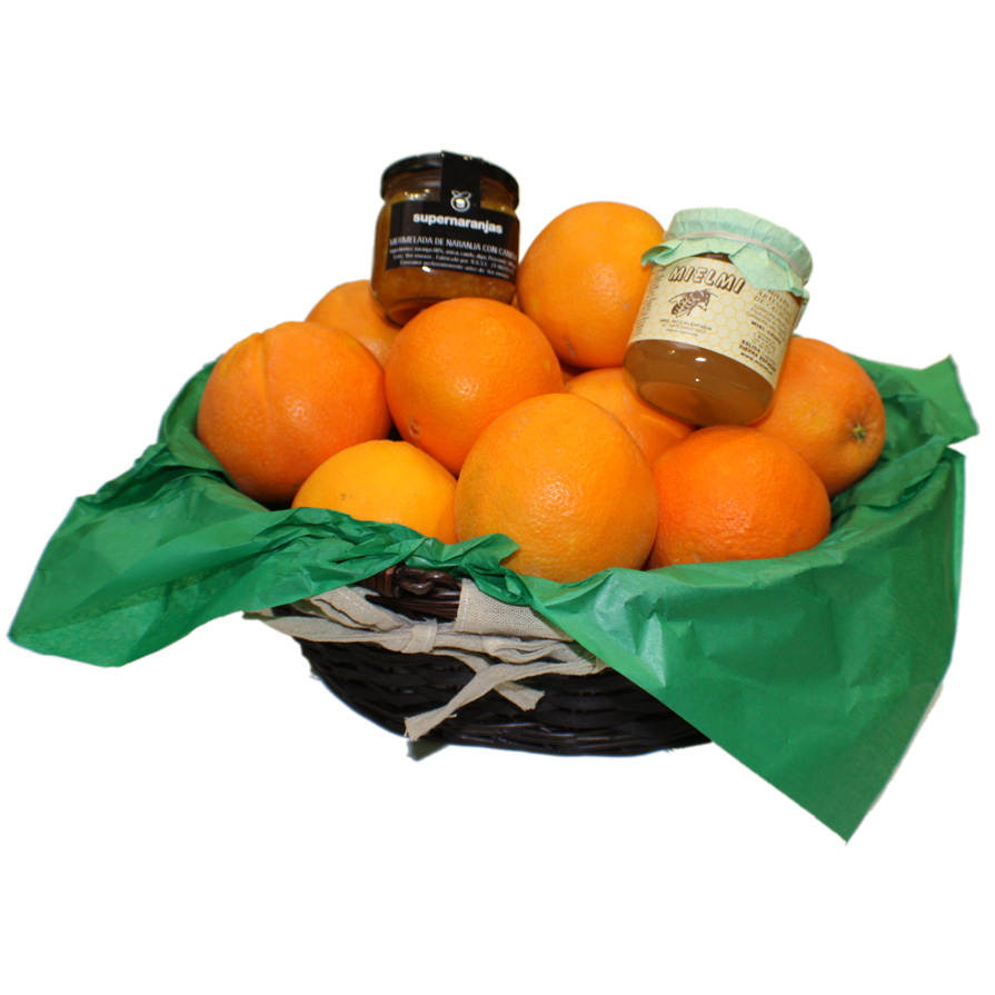 Gift Basket Type 2 with 5kg between oranges and tangerines + jar of honey of ora