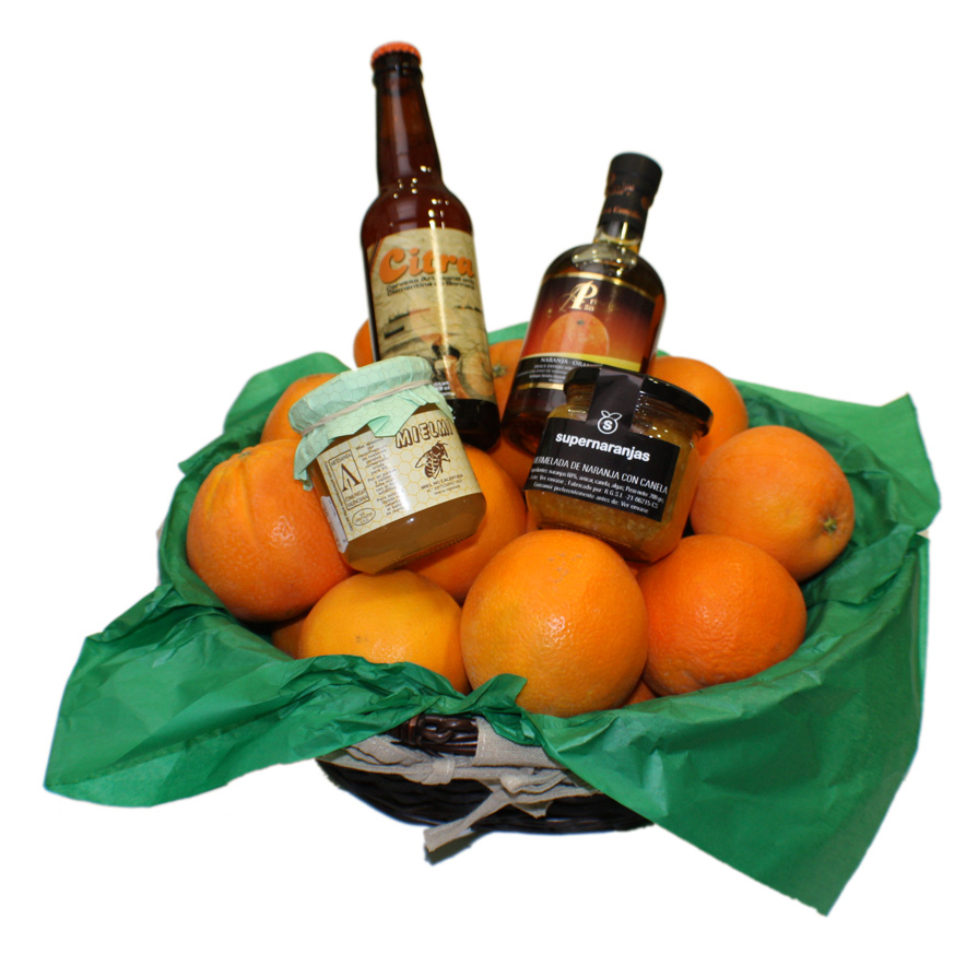Gift Basket with 5kg between oranges and tangerines + jar of honey of orange blo